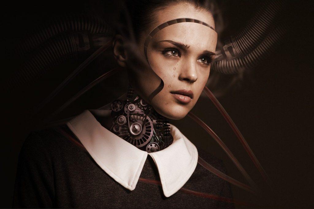 robot, woman, face